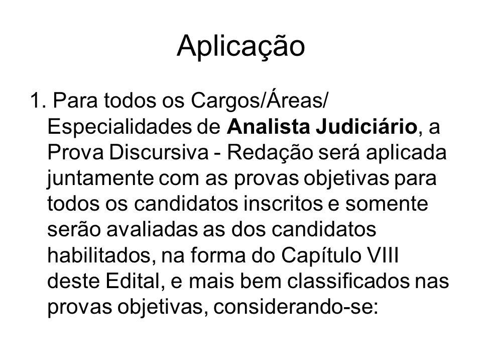 Aplicação 1. Para todos os Cargos/Áreas/ Especialidades de Analista Judiciário, a Prova Discursiva - Redação será aplicada juntamente com as provas ob