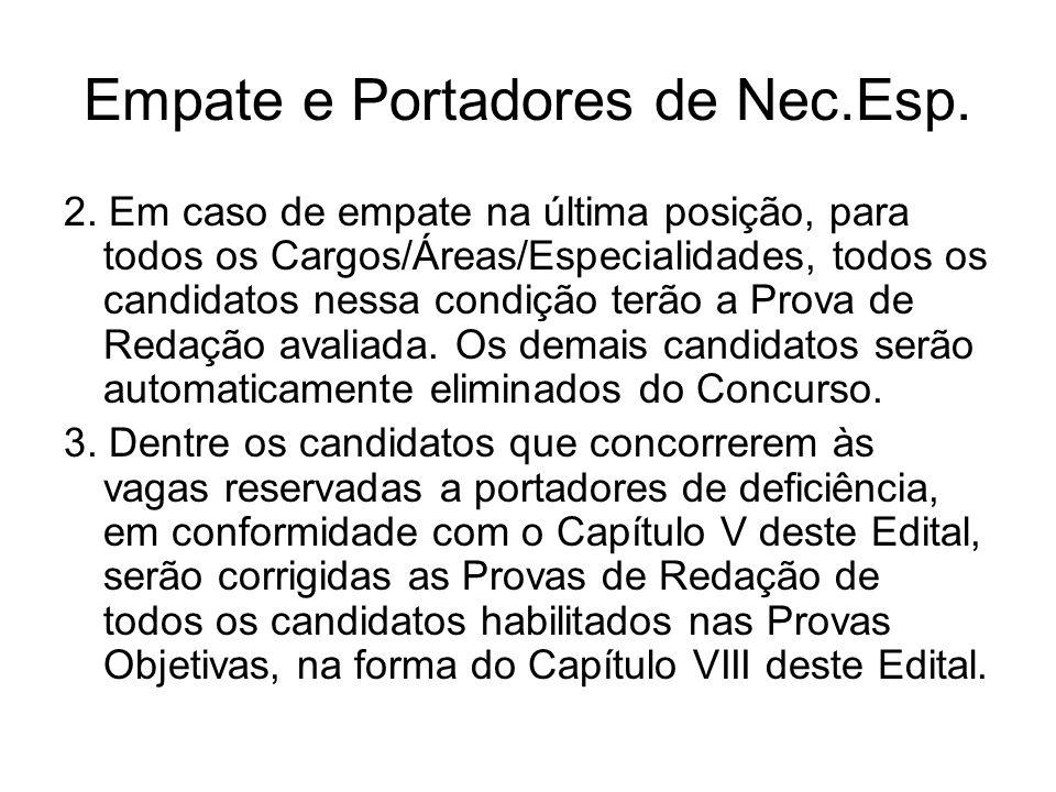 Empate e Portadores de Nec.Esp. 2. Em caso de empate na última posição, para todos os Cargos/Áreas/Especialidades, todos os candidatos nessa condição