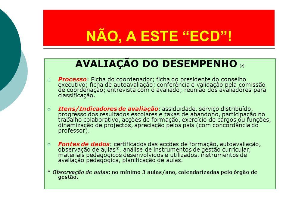 AVALIAÇÃO DO DESEMPENHO (2) Processo: Ficha do coordenador; ficha do presidente do conselho executivo; ficha de autoavaliação; conferência e validação