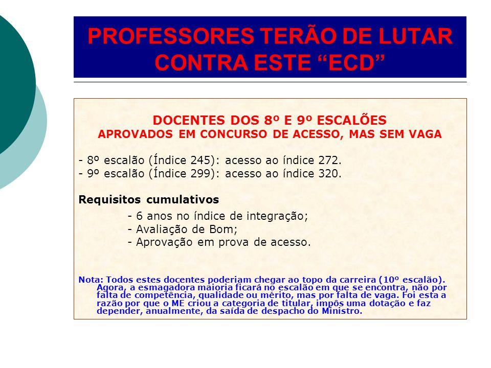 DOCENTES DOS 8º E 9º ESCALÕES APROVADOS EM CONCURSO DE ACESSO, MAS SEM VAGA - 8º escalão (Índice 245): acesso ao índice 272. - 9º escalão (Índice 299)
