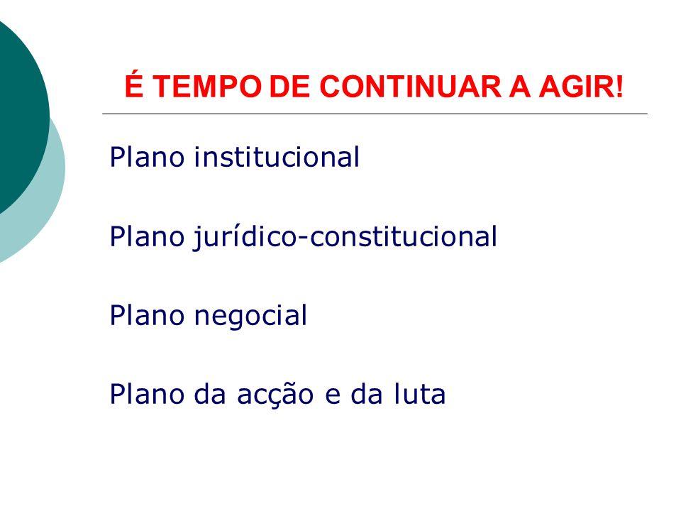 É TEMPO DE CONTINUAR A AGIR! Plano institucional Plano jurídico-constitucional Plano negocial Plano da acção e da luta