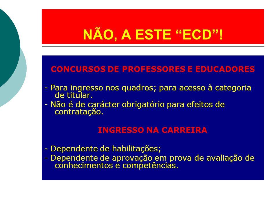 NÃO, A ESTE ECD! CONCURSOS DE PROFESSORES E EDUCADORES - Para ingresso nos quadros; para acesso à categoria de titular. - Não é de carácter obrigatóri