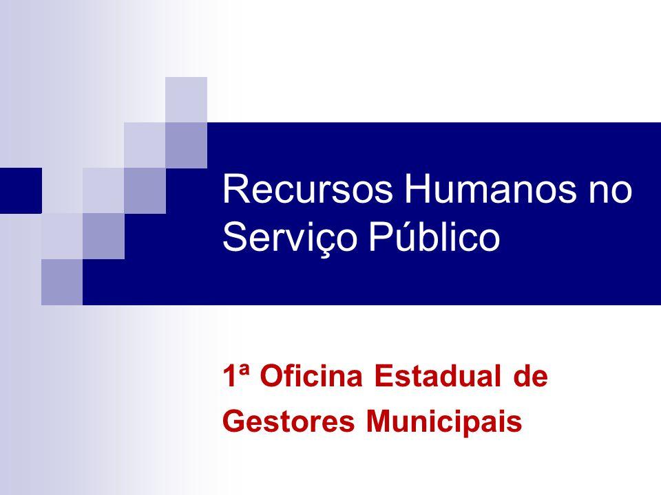Recursos Humanos no Serviço Público 1ª Oficina Estadual de Gestores Municipais