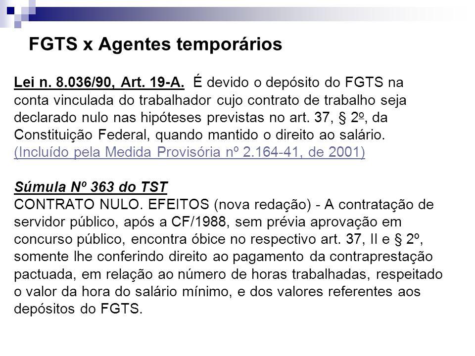 FGTS x Agentes temporários Lei n. 8.036/90, Art. 19-A. É devido o depósito do FGTS na conta vinculada do trabalhador cujo contrato de trabalho seja de