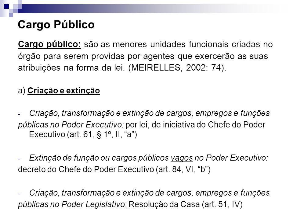 Cargo Público Cargo público: são as menores unidades funcionais criadas no órgão para serem providas por agentes que exercerão as suas atribuições na