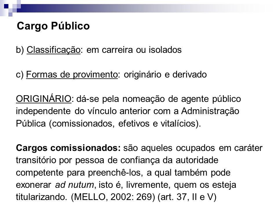 Cargo Público b) Classificação: em carreira ou isolados c) Formas de provimento: originário e derivado ORIGINÁRIO: dá-se pela nomeação de agente públi