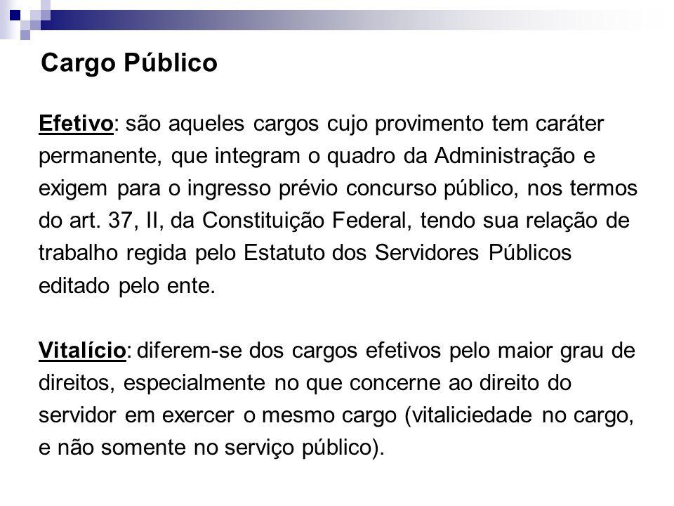 Cargo Público Efetivo: são aqueles cargos cujo provimento tem caráter permanente, que integram o quadro da Administração e exigem para o ingresso prév