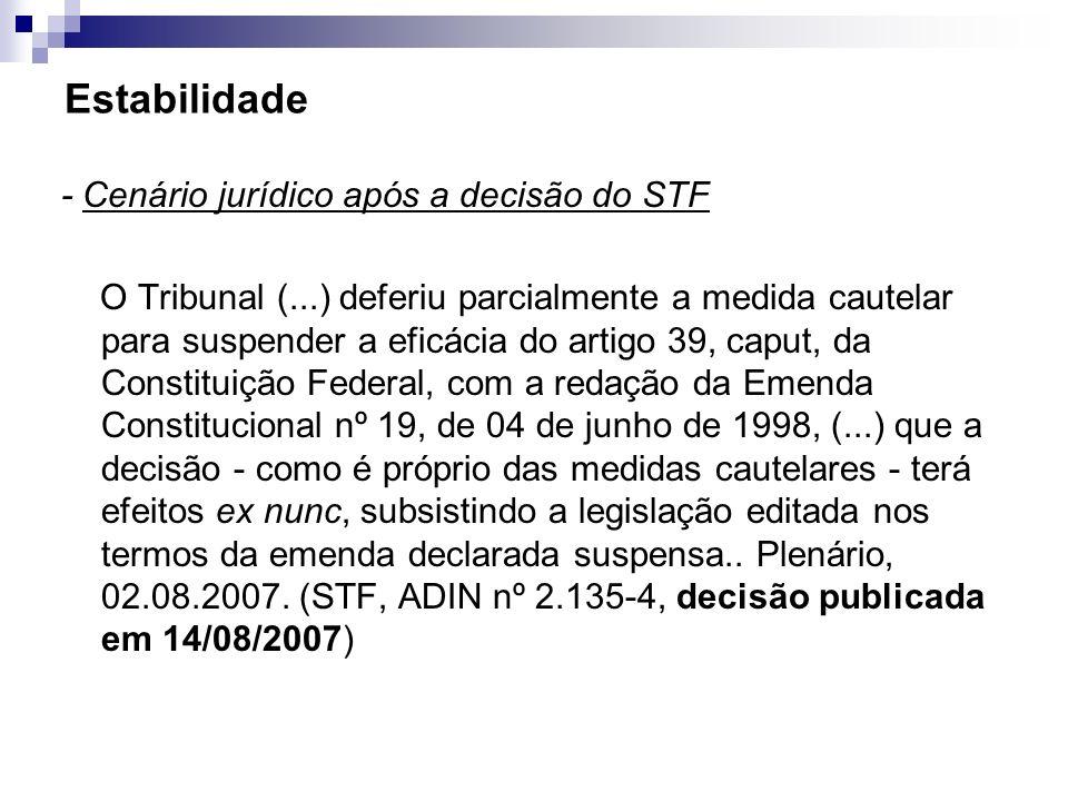 Estabilidade - Cenário jurídico após a decisão do STF O Tribunal (...) deferiu parcialmente a medida cautelar para suspender a eficácia do artigo 39,