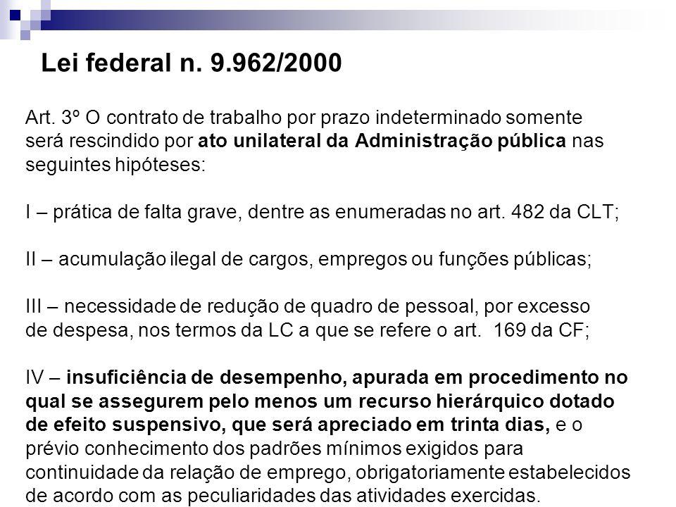Lei federal n. 9.962/2000 Art. 3º O contrato de trabalho por prazo indeterminado somente será rescindido por ato unilateral da Administração pública n