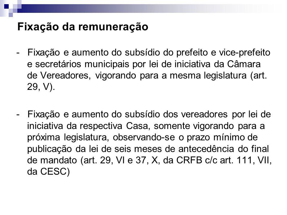 Fixação da remuneração - Fixação e aumento do subsídio do prefeito e vice-prefeito e secretários municipais por lei de iniciativa da Câmara de Vereado