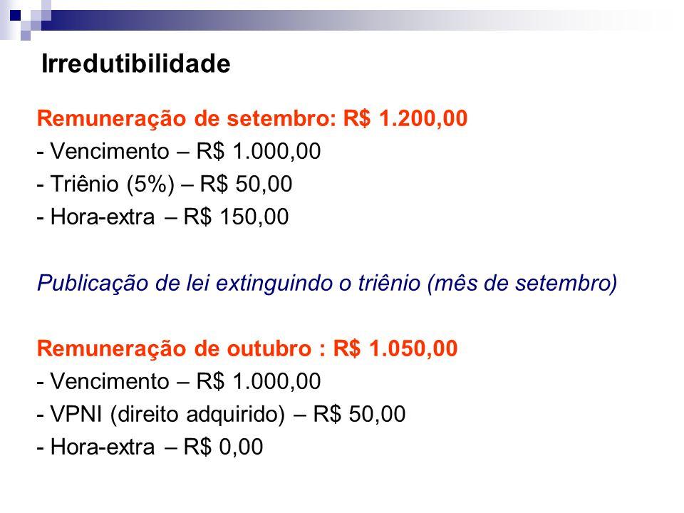 Irredutibilidade Remuneração de setembro: R$ 1.200,00 - Vencimento – R$ 1.000,00 - Triênio (5%) – R$ 50,00 - Hora-extra – R$ 150,00 Publicação de lei