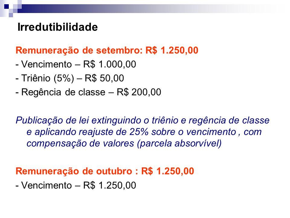 Irredutibilidade Remuneração de setembro: R$ 1.250,00 - Vencimento – R$ 1.000,00 - Triênio (5%) – R$ 50,00 - Regência de classe – R$ 200,00 Publicação