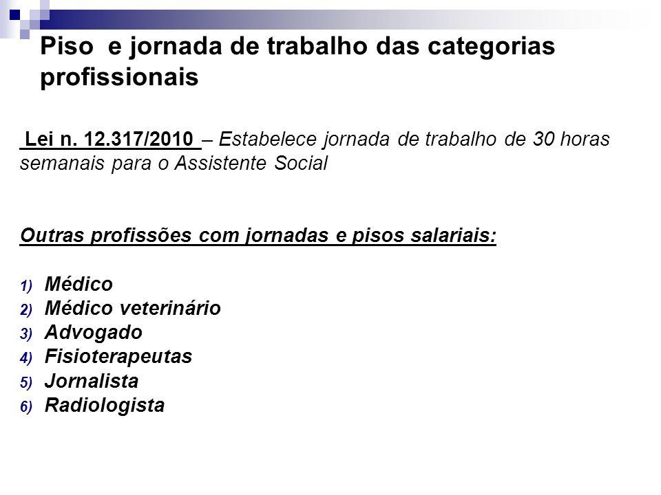Piso e jornada de trabalho das categorias profissionais Lei n. 12.317/2010 – Estabelece jornada de trabalho de 30 horas semanais para o Assistente Soc