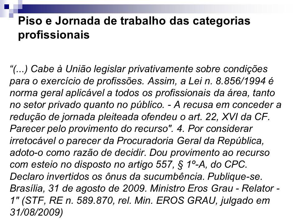 Piso e Jornada de trabalho das categorias profissionais (...) Cabe à União legislar privativamente sobre condições para o exercício de profissões. Ass