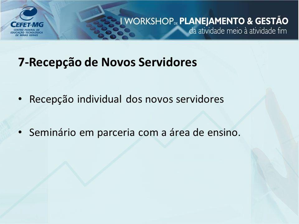 7-Recepção de Novos Servidores Recepção individual dos novos servidores Seminário em parceria com a área de ensino.
