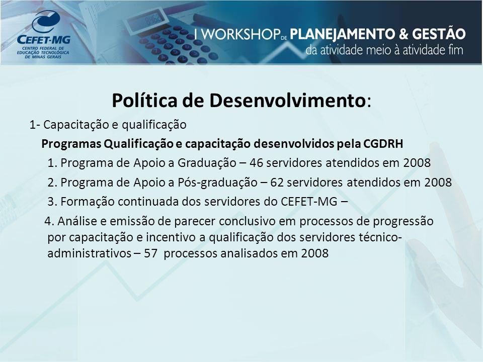 Política de Desenvolvimento: 1- Capacitação e qualificação Programas Qualificação e capacitação desenvolvidos pela CGDRH 1. Programa de Apoio a Gradua