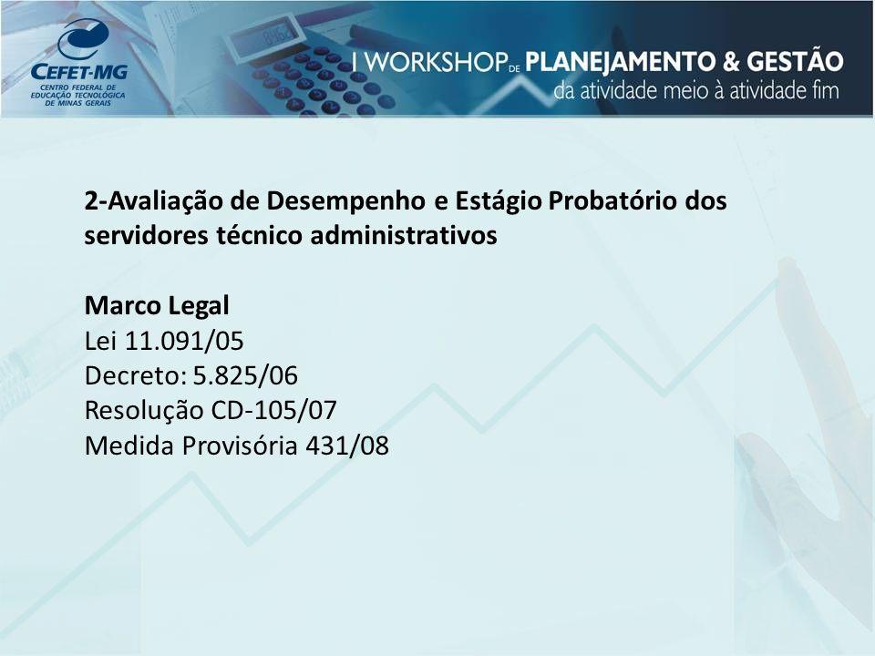 2-Avaliação de Desempenho e Estágio Probatório dos servidores técnico administrativos Marco Legal Lei 11.091/05 Decreto: 5.825/06 Resolução CD-105/07