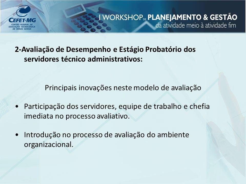 2-Avaliação de Desempenho e Estágio Probatório dos servidores técnico administrativos: Principais inovações neste modelo de avaliação Participação dos