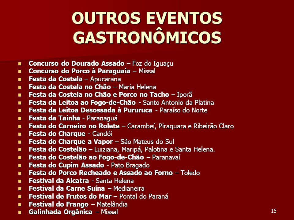 15 OUTROS EVENTOS GASTRONÔMICOS Concurso do Dourado Assado – Foz do Iguaçu Concurso do Dourado Assado – Foz do Iguaçu Concurso do Porco à Paraguaia –