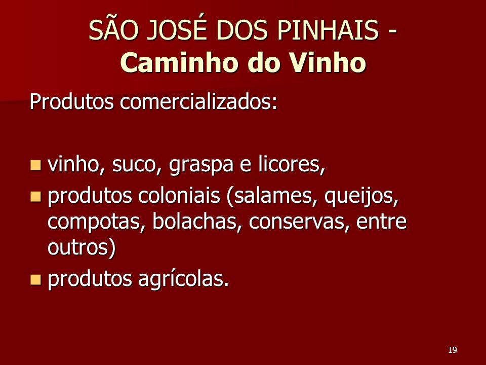 19 SÃO JOSÉ DOS PINHAIS - Caminho do Vinho Produtos comercializados: vinho, suco, graspa e licores, vinho, suco, graspa e licores, produtos coloniais