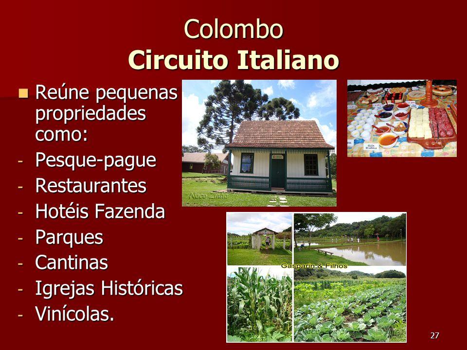 27 Colombo Circuito Italiano Reúne pequenas propriedades como: Reúne pequenas propriedades como: - Pesque-pague - Restaurantes - Hotéis Fazenda - Parq
