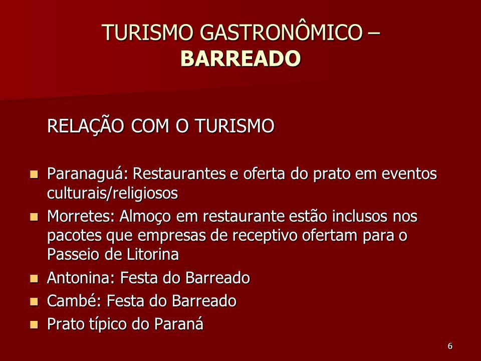 6 TURISMO GASTRONÔMICO – BARREADO RELAÇÃO COM O TURISMO Paranaguá: Restaurantes e oferta do prato em eventos culturais/religiosos Paranaguá: Restauran
