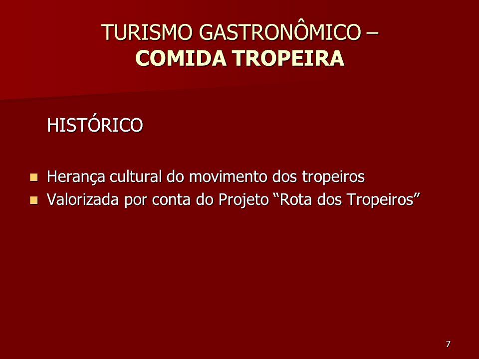 7 TURISMO GASTRONÔMICO – COMIDA TROPEIRA HISTÓRICO Herança cultural do movimento dos tropeiros Herança cultural do movimento dos tropeiros Valorizada