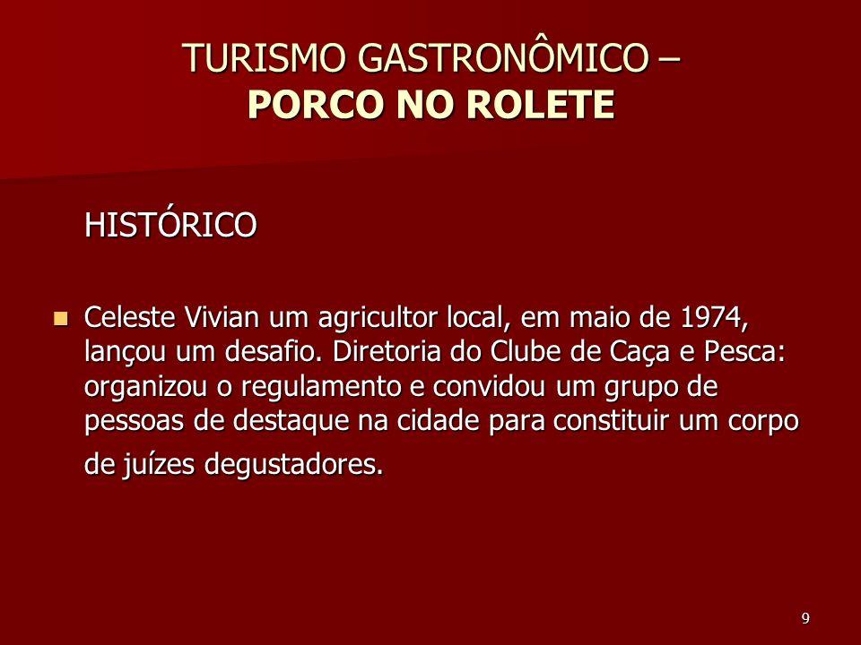 9 TURISMO GASTRONÔMICO – PORCO NO ROLETE HISTÓRICO Celeste Vivian um agricultor local, em maio de 1974, lançou um desafio. Diretoria do Clube de Caça