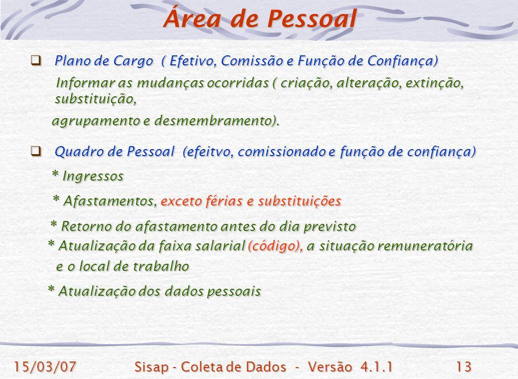 15/03/07Sisap - Coleta de Dados - Versão 4.1.113 Plano de Cargo ( Efetivo, Comissão e Função de Confiança) Plano de Cargo ( Efetivo, Comissão e Função