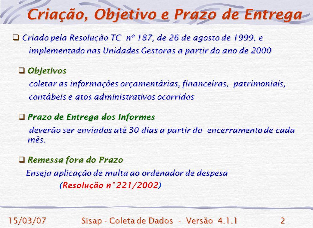 15/03/07Sisap - Coleta de Dados - Versão 4.1.12 Criado pela Resolução TC nº 187, de 26 de agosto de 1999, e implementado nas Unidades Gestoras a partir do ano de 2000 implementado nas Unidades Gestoras a partir do ano de 2000 Objetivos Objetivos coletar as informações orçamentárias, financeiras, patrimoniais, coletar as informações orçamentárias, financeiras, patrimoniais, contábeis e atos administrativos ocorridos contábeis e atos administrativos ocorridos Prazo de Entrega dos Informes Prazo de Entrega dos Informes deverão ser enviados até 30 dias a partir do encerramento de cada mês.