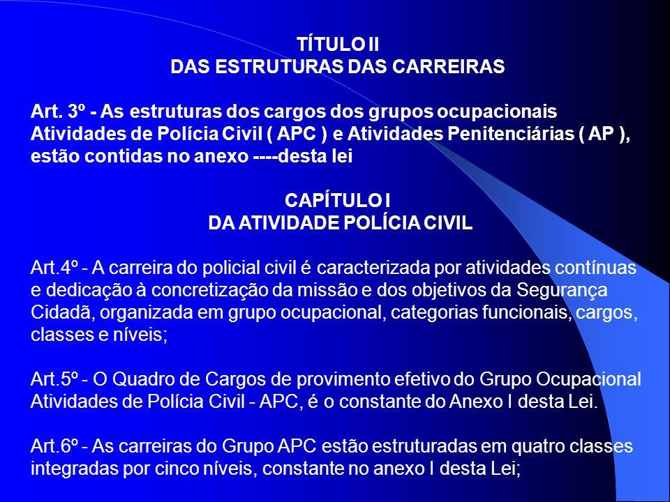 TÍTULO II DAS ESTRUTURAS DAS CARREIRAS Art. 3º - As estruturas dos cargos dos grupos ocupacionais Atividades de Polícia Civil ( APC ) e Atividades Pen