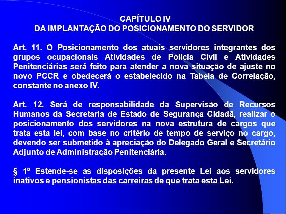 CAPÍTULO IV DA IMPLANTAÇÃO DO POSICIONAMENTO DO SERVIDOR Art. 11. O Posicionamento dos atuais servidores integrantes dos grupos ocupacionais Atividade