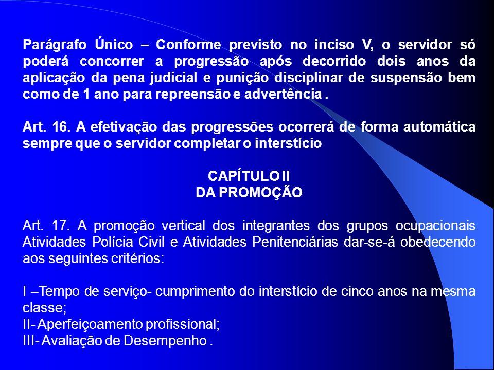 Parágrafo Único – Conforme previsto no inciso V, o servidor só poderá concorrer a progressão após decorrido dois anos da aplicação da pena judicial e