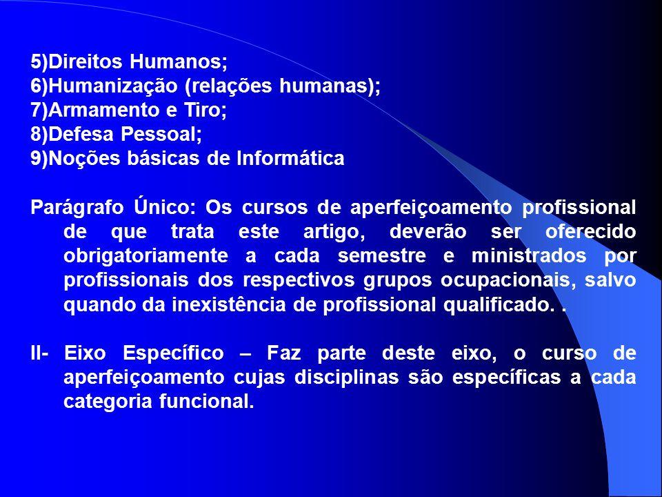 5)Direitos Humanos; 6)Humanização (relações humanas); 7)Armamento e Tiro; 8)Defesa Pessoal; 9)Noções básicas de Informática Parágrafo Único: Os cursos