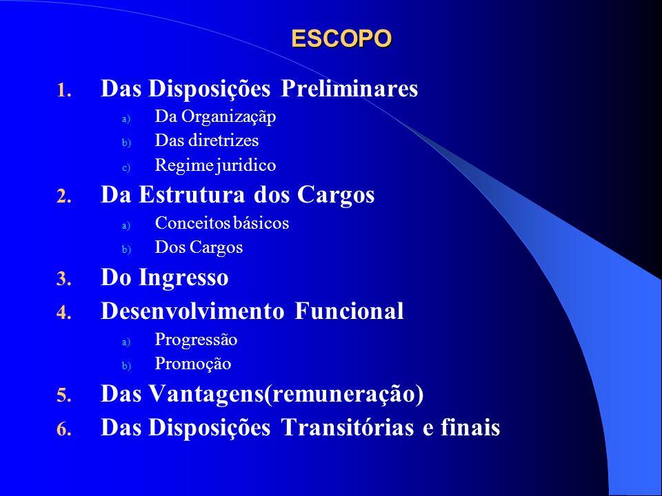 ESCOPO 1. Das Disposições Preliminares a) Da Organizaçãp b) Das diretrizes c) Regime juridico 2. Da Estrutura dos Cargos a) Conceitos básicos b) Dos C