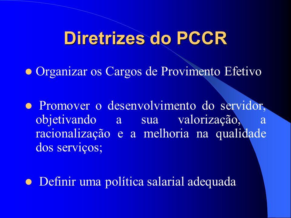 Diretrizes do PCCR Organizar os Cargos de Provimento Efetivo Promover o desenvolvimento do servidor, objetivando a sua valorização, a racionalização e