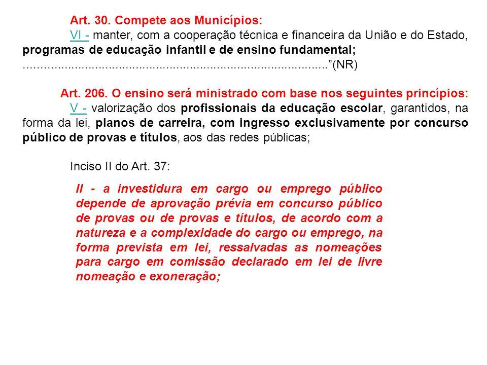 Art. 30. Compete aos Municípios: VI -VI - manter, com a cooperação técnica e financeira da União e do Estado, programas de educação infantil e de ensi