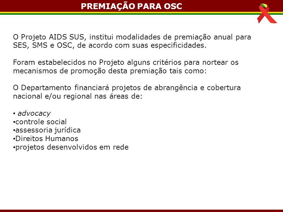 O Projeto AIDS SUS, institui modalidades de premiação anual para SES, SMS e OSC, de acordo com suas especificidades. Foram estabelecidos no Projeto al