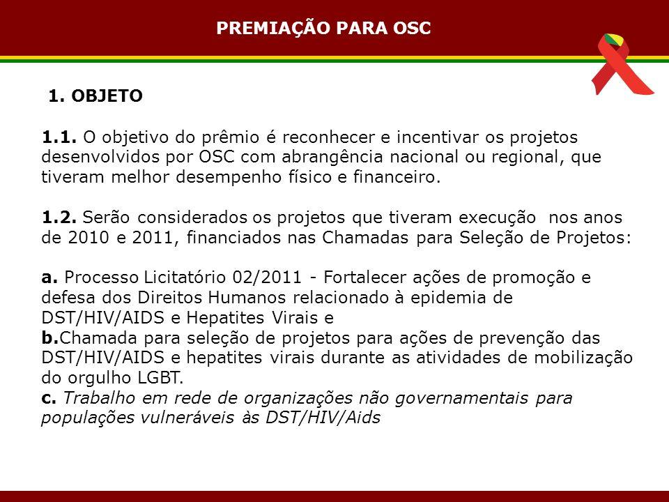 1. OBJETO 1.1. O objetivo do prêmio é reconhecer e incentivar os projetos desenvolvidos por OSC com abrangência nacional ou regional, que tiveram melh
