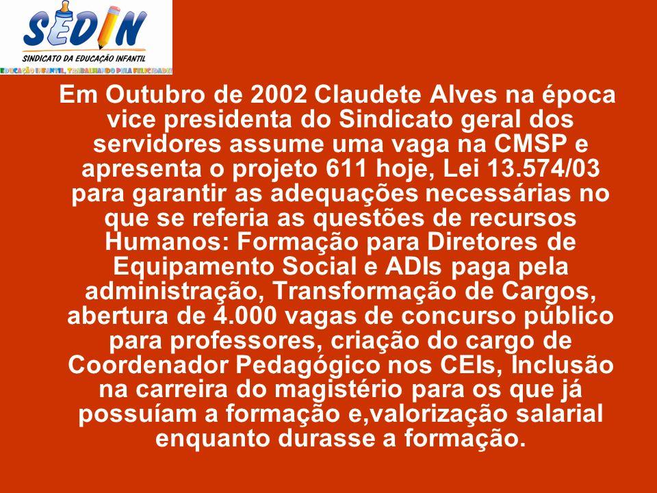 Em Outubro de 2002 Claudete Alves na época vice presidenta do Sindicato geral dos servidores assume uma vaga na CMSP e apresenta o projeto 611 hoje, L