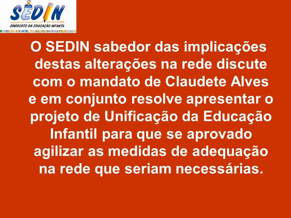 O SEDIN sabedor das implicações destas alterações na rede discute com o mandato de Claudete Alves e em conjunto resolve apresentar o projeto de Unific