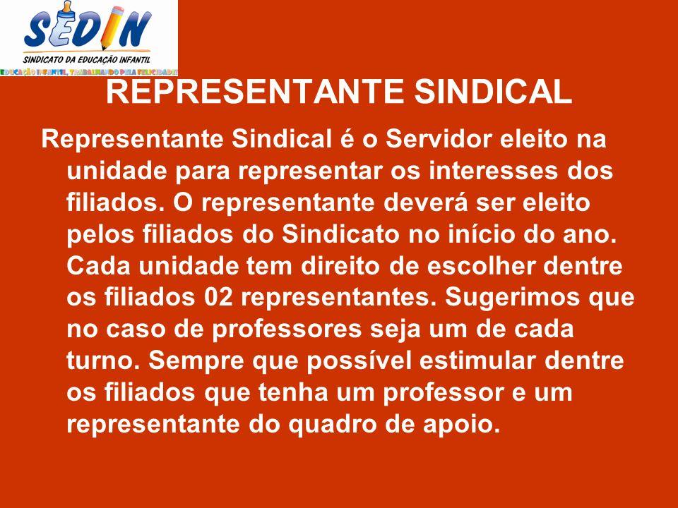 REPRESENTANTE SINDICAL Representante Sindical é o Servidor eleito na unidade para representar os interesses dos filiados. O representante deverá ser e