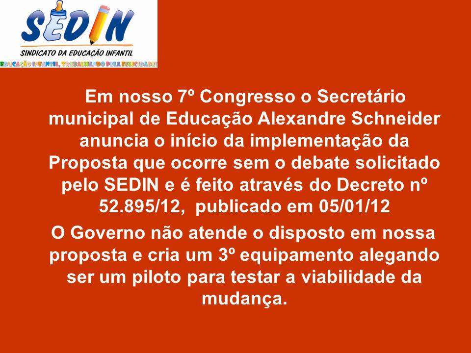 Em nosso 7º Congresso o Secretário municipal de Educação Alexandre Schneider anuncia o início da implementação da Proposta que ocorre sem o debate sol
