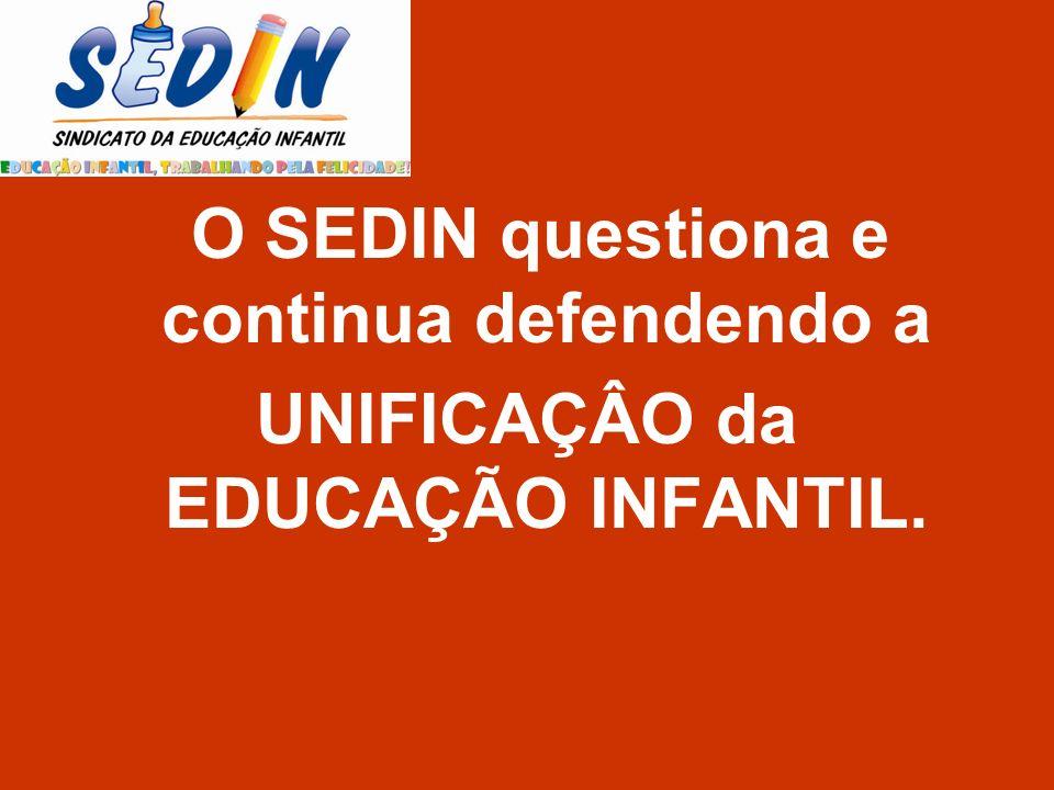 O SEDIN questiona e continua defendendo a UNIFICAÇÂO da EDUCAÇÃO INFANTIL.