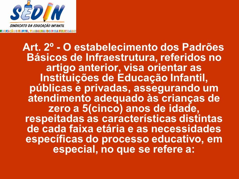 Art. 2º - O estabelecimento dos Padrões Básicos de Infraestrutura, referidos no artigo anterior, visa orientar as Instituições de Educação Infantil, p