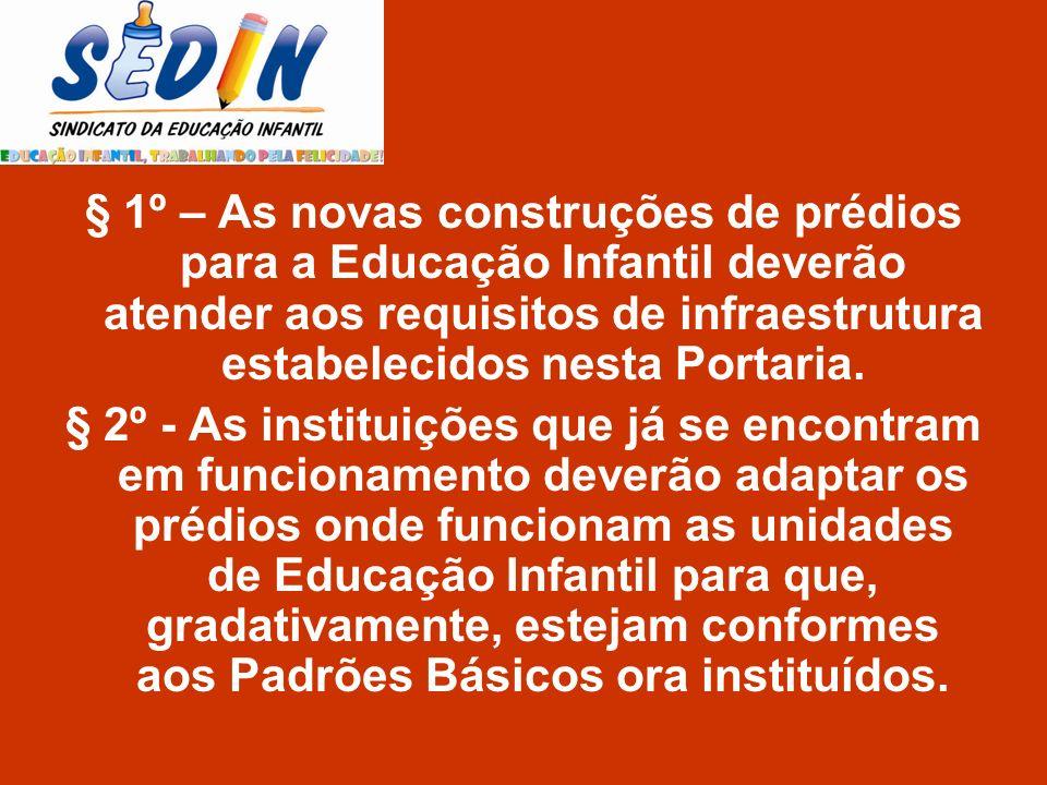 § 1º – As novas construções de prédios para a Educação Infantil deverão atender aos requisitos de infraestrutura estabelecidos nesta Portaria. § 2º -