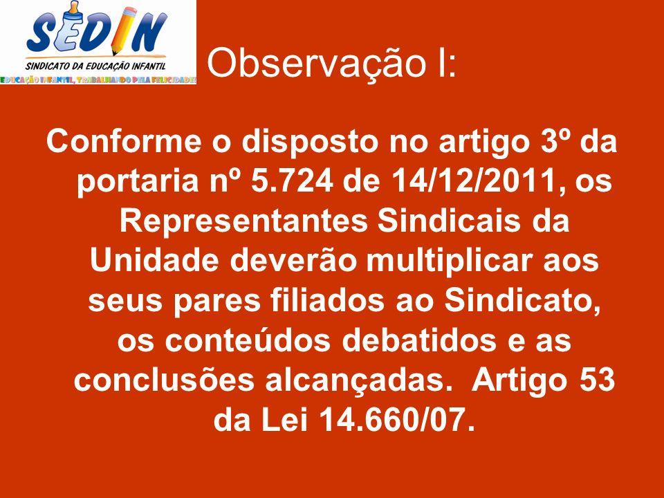 Observação l: Conforme o disposto no artigo 3º da portaria nº 5.724 de 14/12/2011, os Representantes Sindicais da Unidade deverão multiplicar aos seus