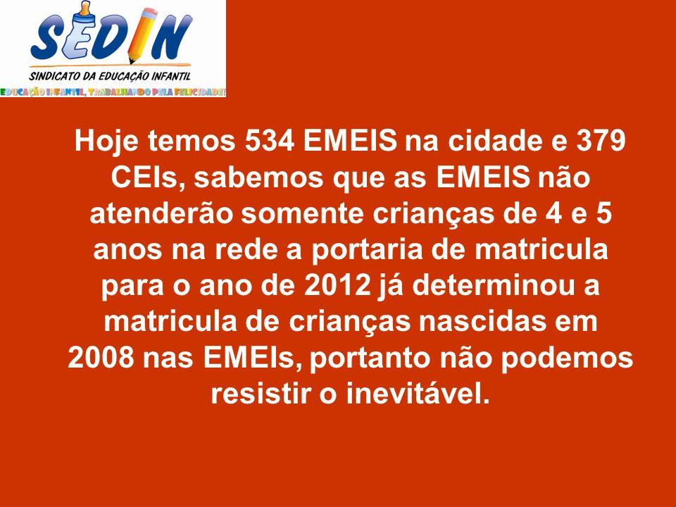 Hoje temos 534 EMEIS na cidade e 379 CEIs, sabemos que as EMEIS não atenderão somente crianças de 4 e 5 anos na rede a portaria de matricula para o an