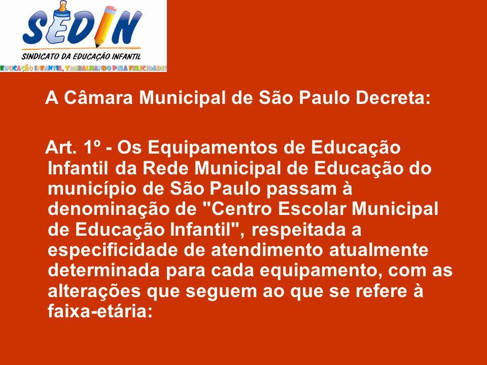 A Câmara Municipal de São Paulo Decreta: Art. 1º - Os Equipamentos de Educação Infantil da Rede Municipal de Educação do município de São Paulo passam