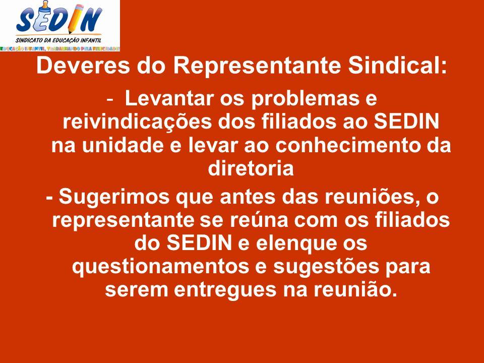 -Levantar os problemas e reivindicações dos filiados ao SEDIN na unidade e levar ao conhecimento da diretoria - Sugerimos que antes das reuniões, o re